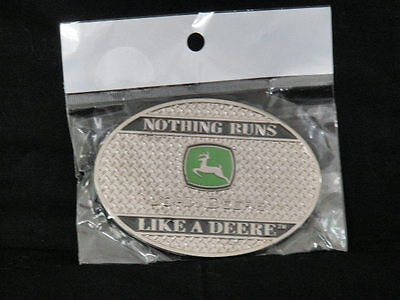 """NEW"" John Deere ~ Nothing Runs Like A Deere ~ Oval Belt Buckle ~Silver ~ Green"