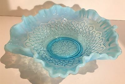 Jefferson Glass Blue Opalescent Bowl, Many Loops Pattern, c., !900, Antique