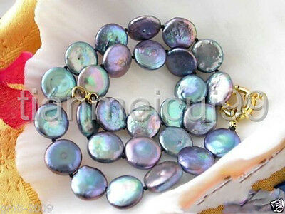 """Rare Large 13-14Mm Natural Black Coin Shape Freshwater Pearl Necklace 18""""aaa+"""