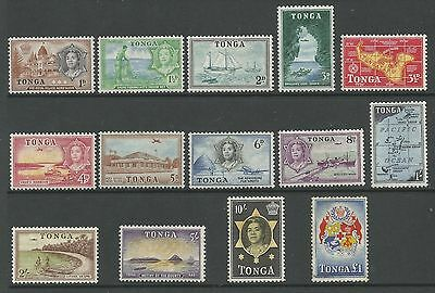 Tonga Sg101-14 The 1953 Qe2 Set Of 14 Mint (The £1 Is Lightly Used) See Scans