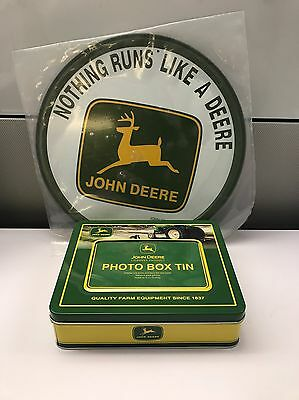 "John Deere Farm Equipment Round Metal Sign 11.5"" & Photo Box Tin 6.5"" x 8"""