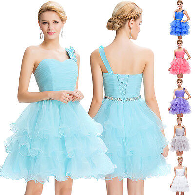 BLUE Mini Ball Party Cocktail Dress Evening Bridesmaid Prom Tulle Dress US 10