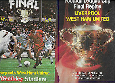 1981 League Cup Final + Replay - LIVERPOOL v. WEST HAM UNITED both programmes