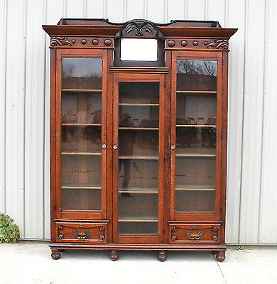 1890s LG OAK 8 FT 5 OLD FINISH VICTORIAN BOOKCASE GUN CHINA COLLECTION CABINET