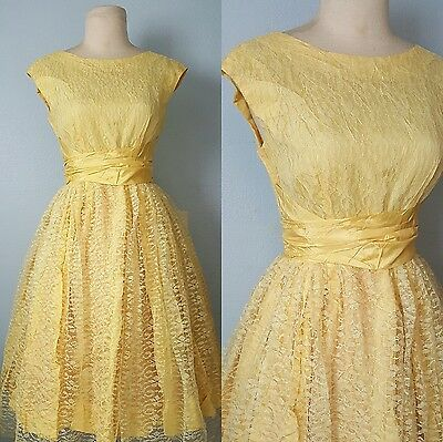 1950s 50s lace full skirt dress party cocktail vlv S M 1960s 60s rockabilly