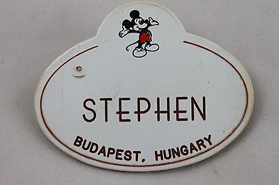 Disneyland Cast Member Mickey Mouse Name Tag Badge - Stephen from Budapest