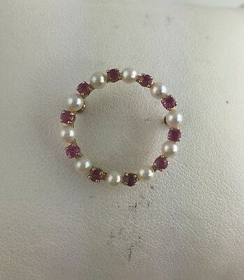 14K Yellow Gold Pearl And Ruby Brooch Pin