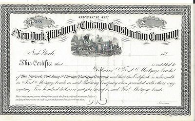 The New York,pittsburg And Chicago Construction Company....1880's Certificate