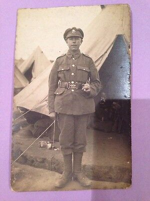 WW1 WWI Real Photo Postcard Notts And Derby Soldier
