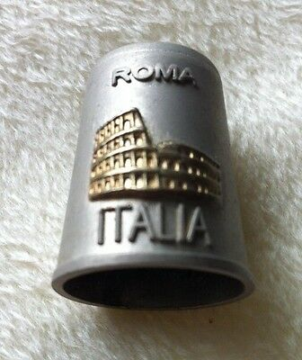 Roma Italia Pewter Thimble With Gold Decoration Both Sides
