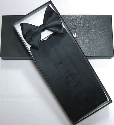 Solid BLACK SILK Cummerbund & BowTie Men's Tuxedo Bow Tie Christmas Gift Box Set