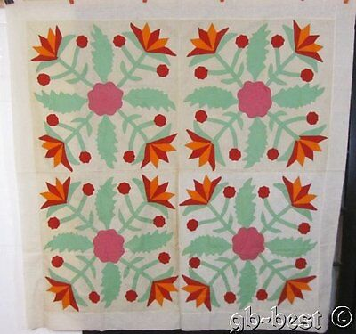 PA Dutch c 1920s Tulips Applique 4 BLOCK Antique Quilt Top Cheddar Red