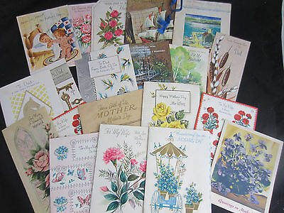 1940s-70s 20 scrapbook Mothers Day Fathers Day cards used