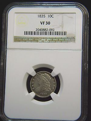 1835 CAPPED BUST DIME (10c)***NGC: VF 30***HO