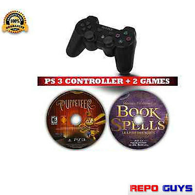 Sony Playstation PS3 Dualshock®3 Wireless Controller Black + 2 PS3 Games