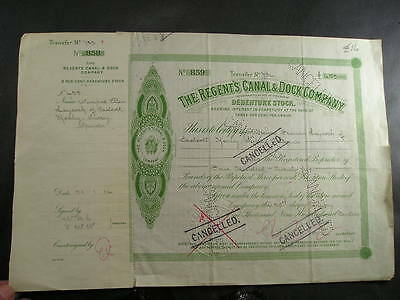 c1914 Regents Canal & Dock Co Debenture Stock Certificate