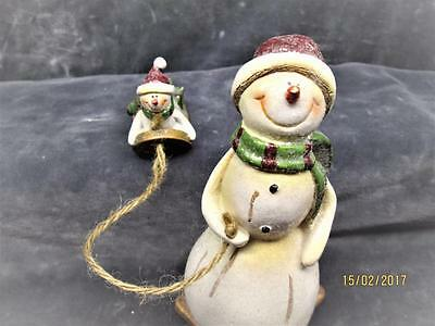 Young Inc Christmas Snowman Pulling A Sled With Little Snowman & Gifts