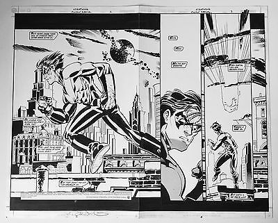 Rick Leonardi, Nightwing: Our Worlds at War 1, Double Splash Pages 2-3, Signed