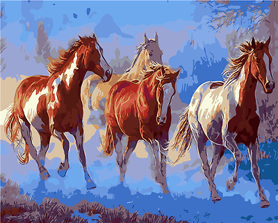 "16X20"" Paint By Number Kit DIY Acrylic Painting on Canvas Horses 1132"