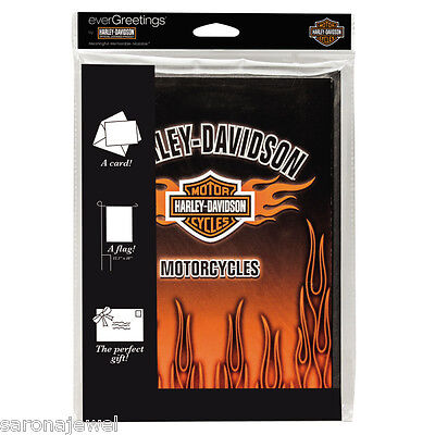 HARLEY DAVIDSON FLAMES Bar & Shield 12X18 FLAG GREETING CARD Auth/Lic NEW IN PKG
