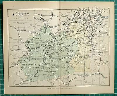 1882 Small Antique County Map ~ Surrey Guildford London Lambeth Southwark