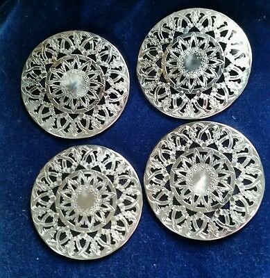 "SET of 4 Vintage Eales1779 6"" silverplate and glass Trivet #876 hot plates ITALY"