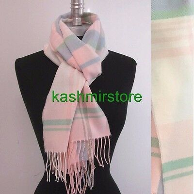 New 100% CASHMERE SCARF MADE IN SCOTLAND PLAID Pink/blue/green SOFT Women's #A06