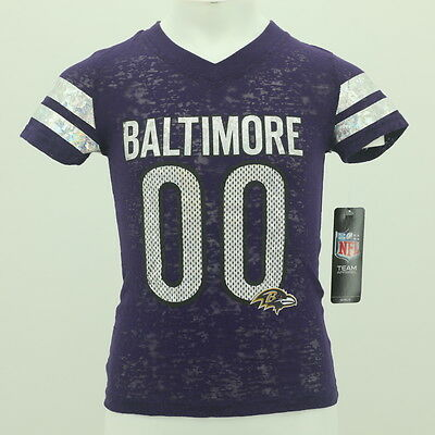 Baltimore Ravens Youth Girls kids Size football official NFL Sheer T-shirt New