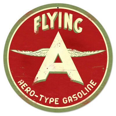 Flying A Hero-Type Gasoline Metal Sign Small Round Garage Wall Decor 14 in.