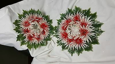 Lot of 2 Plastic Candle Wreath Red White flowers and Holly leaves