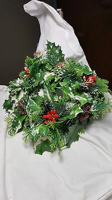 "10"" Plastic Wreath Holly leaves Pine cones berries"