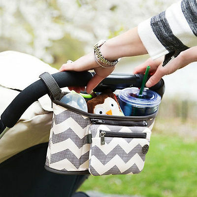 Travel Baby Pram Diaper Stroller Organizer Pushchair Bottle Basket Storage Bag