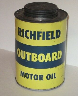 RICHFIELD OUTBOARD MOTOR OIL CANS COLLETIBLE RARE MINT ADVERTISER VINTAGE 1940's