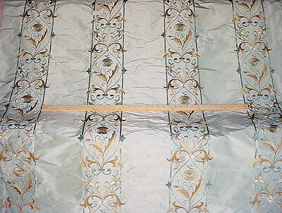 7+Y Cowtan & Tout French Elizabethan Stripe Embroidery Silk Upholstery Fabric
