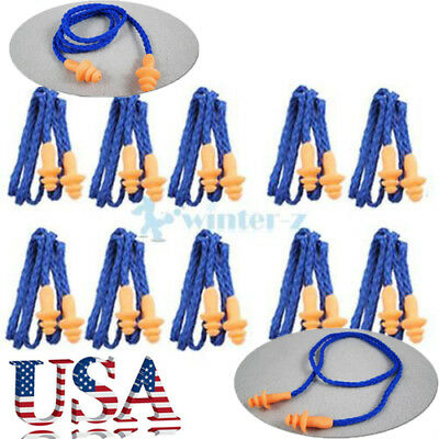 10Pcs Soft Silicone Corded Ear Plugs Reusable Hearing Protection Earplugs USA