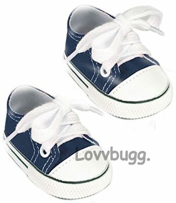 "Lovvbugg Navy Blue Sneakers for 18"" American Girl or Boy n Baby Doll Shoes"