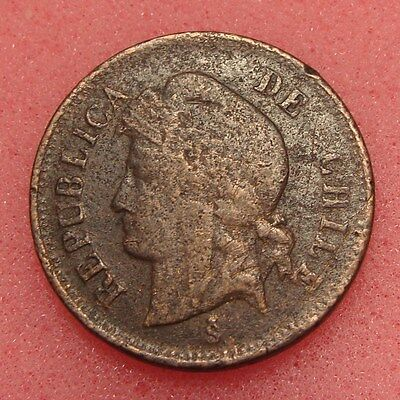 CHILE, UN CENTAVO 1898, KM# 146a, COPPER COIN, LOT # C-6