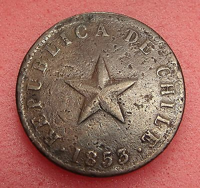 Chile, Un Centavo 1853, Km# 127, Copper Coin, Lot # C-1