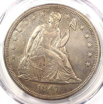 1847 Seated Liberty Silver Dollar $1 - PCGS XF Details - Rare Early Date Coin!