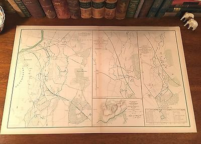 Original Antique Large Civil War Map PETERSBURG VIrginia VA Artillery Positions