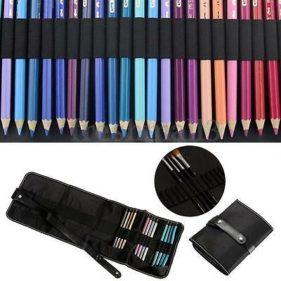 48 Holes Canvas Wrap Roll Pen Case Pencil Bag Holder Drawing Brush Storage Pouch