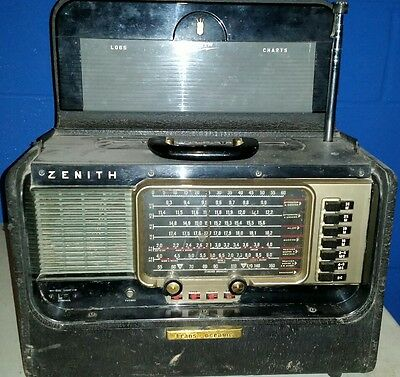 Vintage Zenith Transoceanic Wave Magnet AM & Shortwave Tube Radio with Guide
