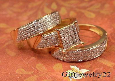 14k Yellow Gold Over 1.86 CT Diamond His &  Her Trio Ring Set Engagement Wedding