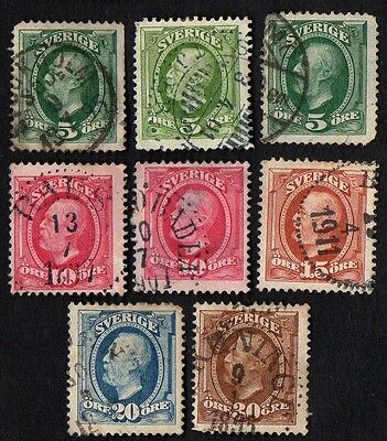 Sweden stamps.   1891 -1903 King Oscar II. Cancelled