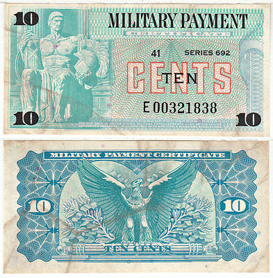 10 Cent Series 692 REPLACEMENT Military Payment Certificate Very Fine