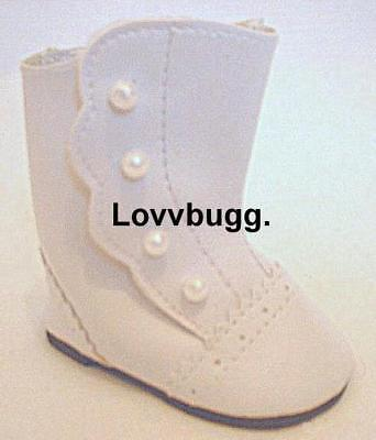 """White Victorian Boots for American Girl 18"""" Doll Shoes TRUE TRUSTED US SELLER!"""