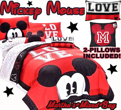 DISNEY MICKEY MOUSE RED Black LOVE 7-9P QUILT/Comforter SHAM SHEET SET+2-Pillow