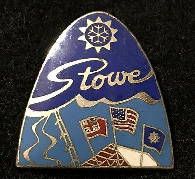 STOWE Vintage Skiing Ski Pin Badge VERMONT VT Resort Souvenir Travel Lapel