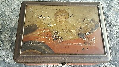 Very Rare William Arnotts Biscuit Tin.Girl in Red Roadster Car. 1930's. Vintage