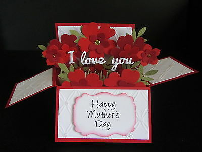 Handmade  3D Mother's Day Card in a box -Red roses, PERSONALISED